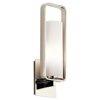 City Loft Wall Light in Polished Chrome with a White Opal Glass Shade - KICHLER KL/CITY LOFT1